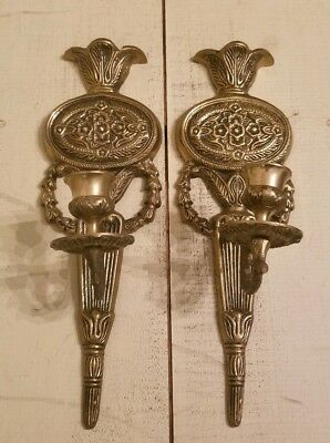 Antique Victorian Pair Double Brass Wall Piano Sconces Candle Stick Holders