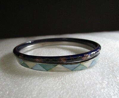 Vintage Pair of BANGLE Bracelets 1 Cobalt Blue Chinese CLOISONNE & 1 Shell Inlay