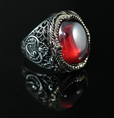 AAA Quality Sterling 925 Silver Handcraft  Mens Jewelry Cabochon Ruby Men's Ring