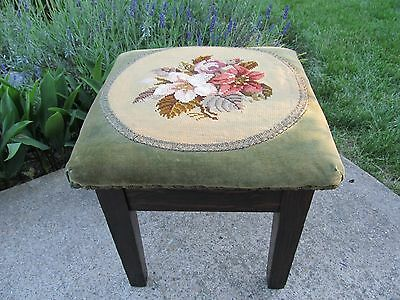 Antique Tiger Oak Footstool with Velvet and Floral Needlepoint