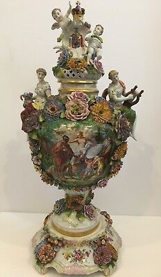Antique Von Shierholz Dresden German Porcelain Urn w Applied Flowers & Cherubs