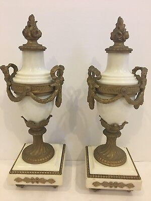 """Pair Of Antique French Marble Garniture Urns with  Gilt Metal Mounts  H 11"""""""