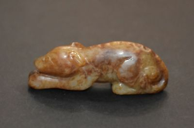 """Rare Chinese Qing Dy Old Nephrite Jade Carved Dog (Wang Cai) """"Gua Jian"""" L 4.6 CM"""