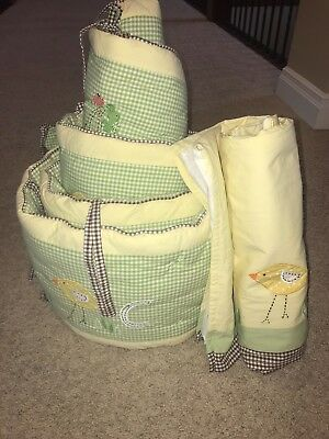 Pottery Barn Kids Unisex Crib Bumper and Crib Skirt - ABC Green, Yellow, Brown