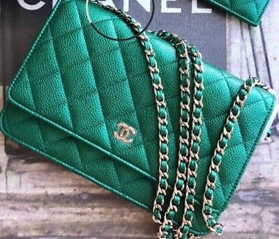 3cb56a3b1e062 CHANEL MINI SQUARE Flap Bag Quilted Green Iridescent Leather Silver ...