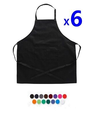 6x Plain Apron Bib Water Proof Pocket Butcher Waiter Chef Kitchen Cooking Craft