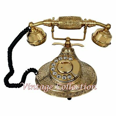 Vintage Brass Rotatry Dial Phone ~ Retro Style Antique Telephone Collectable