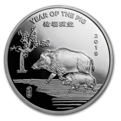 """1 oz .999 Solid Silver Art-Round/Coin: """" 2019 Year of the PIG, Chinese Zodiac """""""