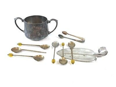 Joblot Of Vintage Silver Plated On Brass Collectables - Junk Draw - Spoons Etc