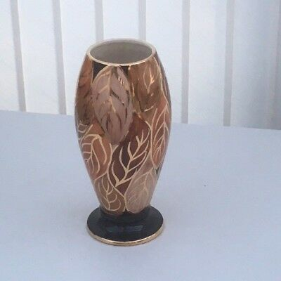 Vintage Leaf Design Oldcourt Ware Gilded Hand Painted Vase, Back Stamp 1955+