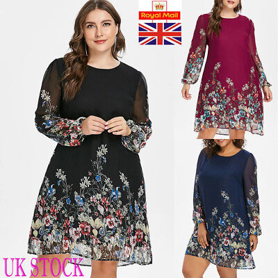 UK Plus Size Womens Floral Dress Ladies Casual Holiday Long Sleeve Party Dress