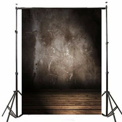 [NEW] 5x7FT Vinyl Retro Gray Wall Photography Background Wood Floor Studio Backd