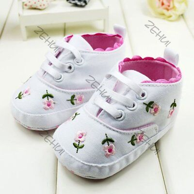 Baby Kid Girl Embroidery Flower Crib Shoes Anti-slip Newborn Soft Casual Sneaker