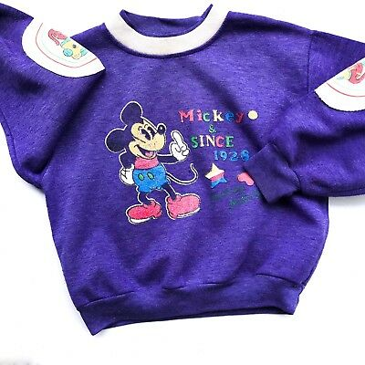Vintage Kids Disney Mickey Mouse Purple 80s 90s Sweatshirt Jumper Retro 3-4-5 Y