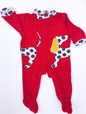 VTG Kids Boho 60s/70s French Puppy Appliqué Terry Towelling Playsuit 0-6 M