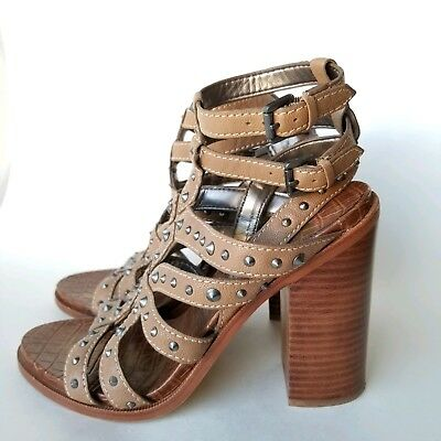 653b9948bc87 Sam Edelman KEITH Beige Strappy High Heel Studded Gladiator Sandals Shoes  Size 9