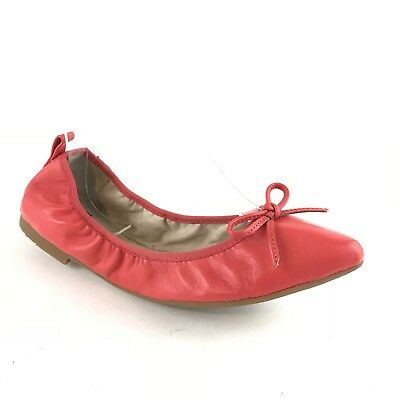 ABUSA Womens Foldable Ballet Flats Pointed Toe Leather Coral Pink Bow Size 7