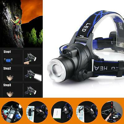 20000 LM X-XML T6 LED Phare Zoom Flashlight Torch USB Rechargeable Headlamp AT