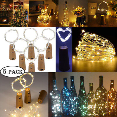 6x 2M 20LED Copper Wire Wine Bottle Cork Fairy String Lights Xmas Wedding Party