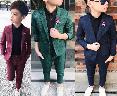 Kids Boys Suit Check Waistcoat Page Boy Prom Suits Wedding Formal Suits Outfits