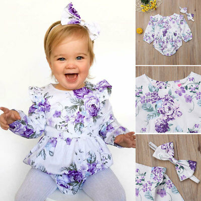 AU Toddler Baby Girls Floral Romper Bodysuit Jumpsuit Headband Outfit 2pcs