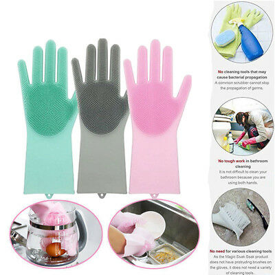 Hot Heat Resistant Magic SakSak Reusable Silicone Cleaning Brush Scrubber Gloves