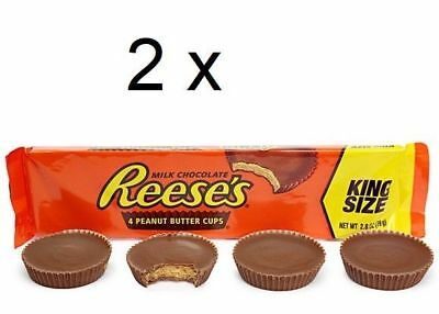 2 x USA REESE'S King Size Peanut Butter Cup Chocolate 79g each (Reeses)