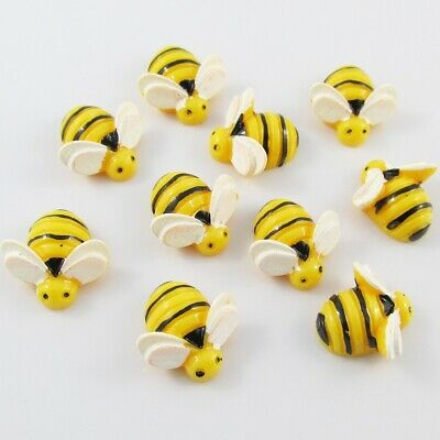 10pcs DIY Resin Bumblebee Bee Cabochon 19x19mm Flat Back Scrapbooking Hair Clips