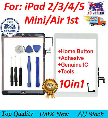 For iPad 2,3,4,Air 1St,Mini 1/2 Touch Screen Digitizer Replacement + Home Button