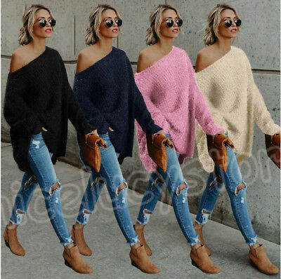 Womens Off the Shoulder Fluffy Chunky Knit Jumper Ladies Oversized Baggy Sweater