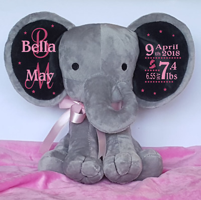 Personalised Elephant Baby Birth Stats Keepsake Gift New Born Baby Girl/Boy Gift