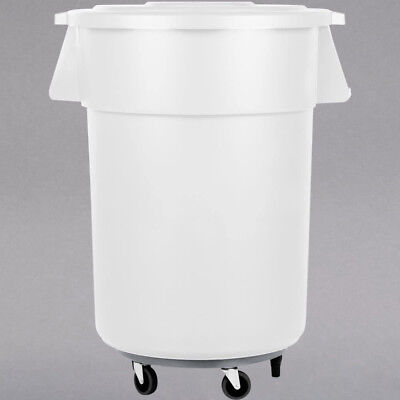 55 Gallon Carlisle White Plastic Restaurant Kitchen Trash Can with Lid & Dolly