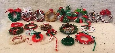 Lot Of 21 Vintage Christmas Wreath Ornaments Christmas Tree Decorations