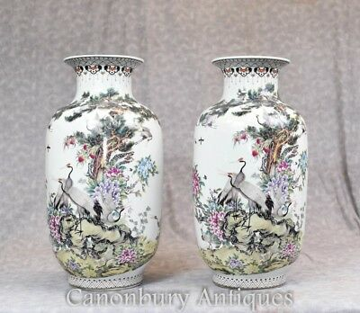 Pair Chinese Qianjiang Porcelain Vases Urns Crane Stork Painted China