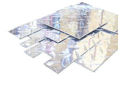 "Small Aluminum Diamond Plate Flat Sheet Metal Pieces, many sizes, 0.062"" thick"