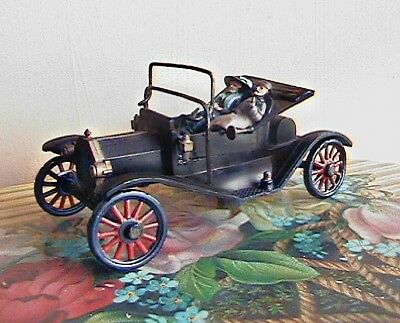 vintage miniature toy car, early ford, with passengers, 4 inch size