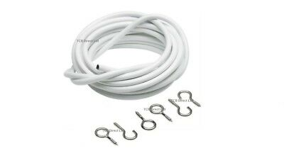 4M Metre White Window Net Curtain Wire Voiles Cord Cable With 12 Hooks & Eyes
