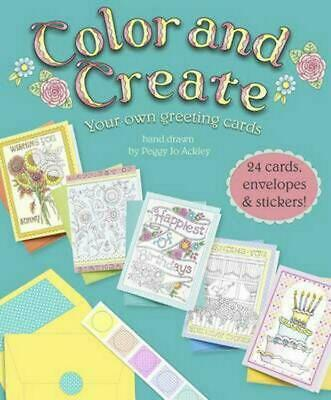 Color and Create: 24 Greeting Cards and Envelopes Paperback Book Free Shipping!