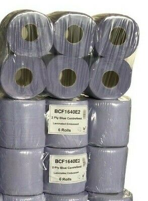 48 Rolls (8 PACKS) Blue Centre feed Rolls Embossed 2ply Wiper Paper Towel 45M
