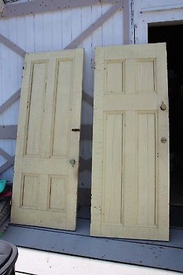 Antique Interior Solid Wood 4 Panel Door (2 Available)