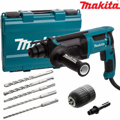 Makita HR2630 SDS+ 3 Mode Rotary Hammer Drill Extra Drills & Keyless Chuck 240V