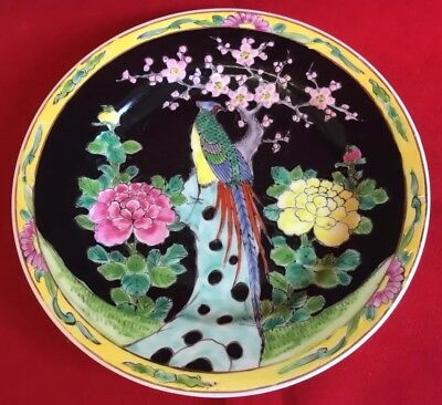 Antique Japanese Late Meiji Period Famille Noire Peacock Design Plate