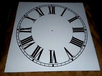 "Large Paper Clock Dial - 11"" M/T- Roman - White Matt - Face / Clock Parts/Spares"