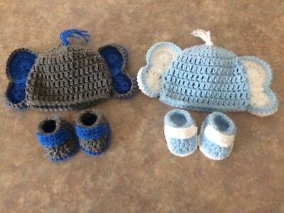 Crochet newborn -3 month Baby Elephant hat & Booties Set photo prop Twin Gift