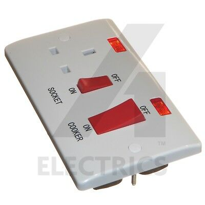 45A Cooker Oven Switch with 13A Socket and Neon Red Rocker White Curved Edge DP
