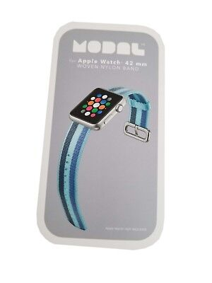 NEW Modal Nylon Woven Apple Watch Replacement Band - 42 mm - Blue Stripes