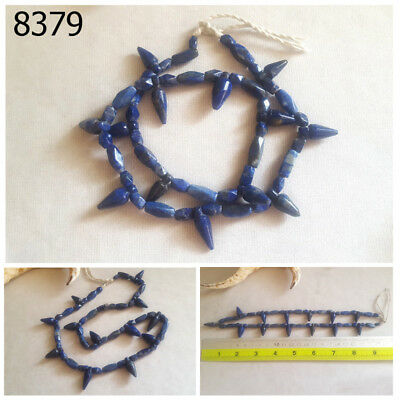 Ancient Style SPIKES Lapis Lazuli Carved Egyptian Faceted Beads Strand #8379