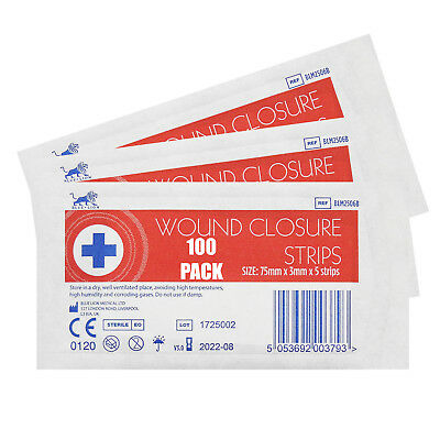 100 Packs, 500x Blue Lion 3mm x 75mm Sterile Wound Closure Strips Sutures