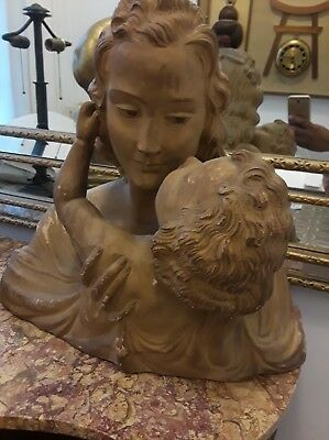 19th Century huge French Terracotta  Of Mother&child..or Modonna&child.signed