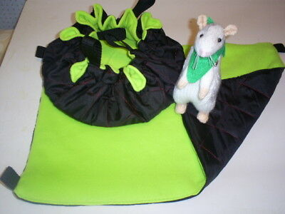 (Small) HANGING BED +  HAMMOCK   (Pet Rats )--(Black Nylon quilted/Lime Fleece)